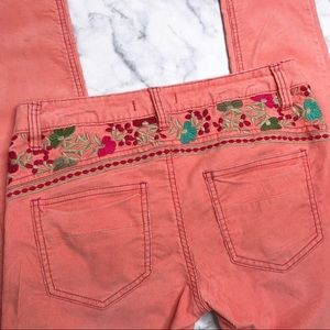 Free People Floral Corduroy Skinny Pants